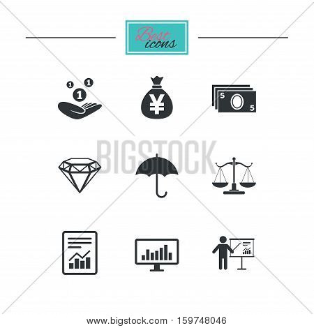 Money, cash and finance icons. Money savings, justice scales and report signs. Presentation, analysis and umbrella symbols. Black flat icons. Classic design. Vector