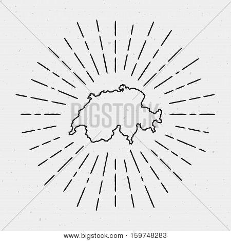 Retro Sunburst Hipster Design. Switzerland Map Surrounded By Vintage Sunburst Rays. Trendy Hand Draw