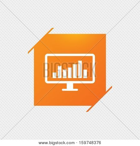Computer monitor sign icon. Market monitoring. Orange square label on pattern. Vector