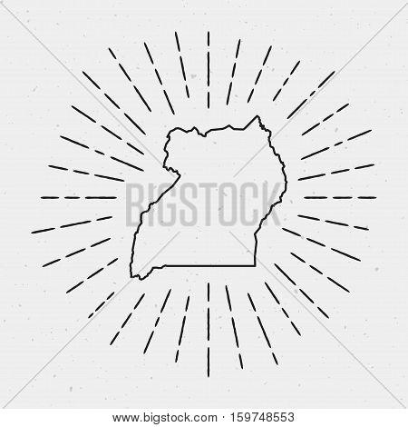 Retro Sunburst Hipster Design. Uganda Map Surrounded By Vintage Sunburst Rays. Trendy Hand Drawn Sun