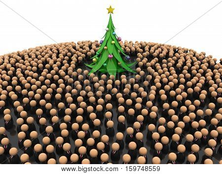 Crowd of small symbolic figures with New Year celebration tree 3d illustration horizontal