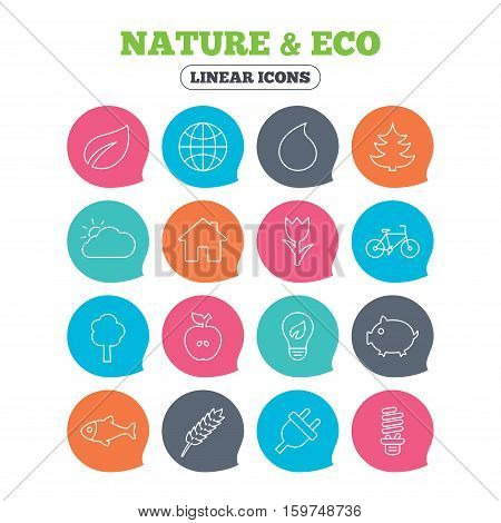Nature and Eco icons. Trees, leaf and tulip or rose flower. Planet and water drop. Energy saving lamp, electric plug and house building. Flat speech bubbles with linear icons. Vector