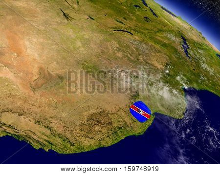 Swaziland With Embedded Flag On Earth