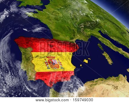 Spain With Embedded Flag On Earth