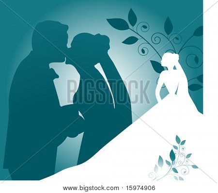 bride and groom silhouette concept