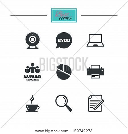Office, documents and business icons. Pie chart, byod and printer signs. Report, magnifier and web camera symbols. Black flat icons. Classic design. Vector
