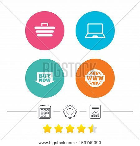 Online shopping icons. Notebook pc, shopping cart, buy now arrow and internet signs. WWW globe symbol. Calendar, cogwheel and report linear icons. Star vote ranking. Vector