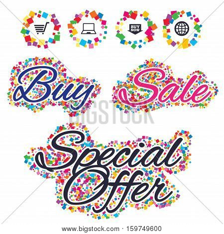 Sale confetti labels and banners. Online shopping icons. Notebook pc, shopping cart, buy now arrow and internet signs. WWW globe symbol. Special offer sticker. Vector