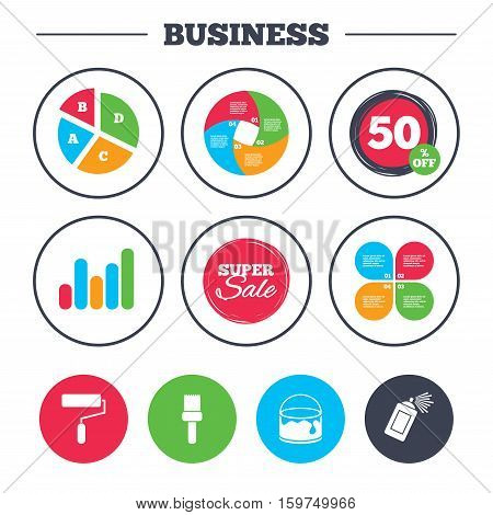 Business pie chart. Growth graph. Painting roller, brush icons. Spray can and Bucket of paint signs. Wall repair tool and painting symbol. Super sale and discount buttons. Vector