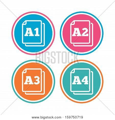 Paper size standard icons. Document symbols. A1, A2, A3 and A4 page signs. Colored circle buttons. Vector