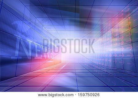 Futuristic Modern High tech Enclosed News Studio Background News Text in Perspective