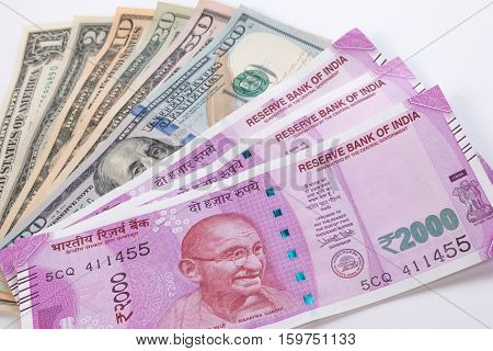 2000 Rupee Banknote Over Us Dollar Banknote. 2000 Rupee Publish On 9 November 2016. Indian And Usa E