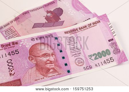 Close up of the new rupee 2000 banknote. Mahatma Gandhi on Indian 2000 rupee banknote.
