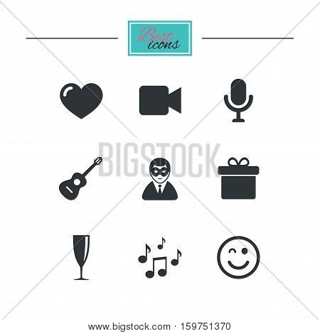 Party celebration, birthday icons. Carnival, guitar and champagne glass signs. Gift box, music and video camera symbols. Black flat icons. Classic design. Vector