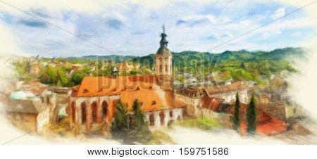 Panoramic view of Baden-Baden. Europe, Germany.  Oil painting effect.