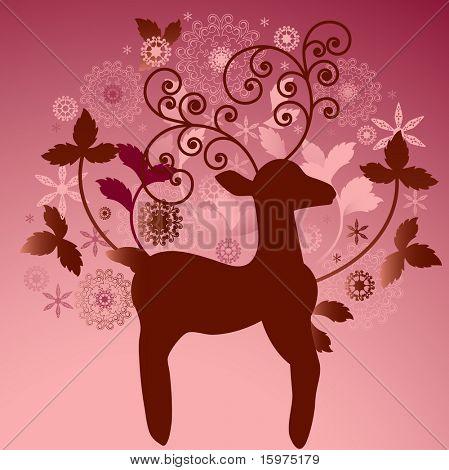 organic leaves with reindeer
