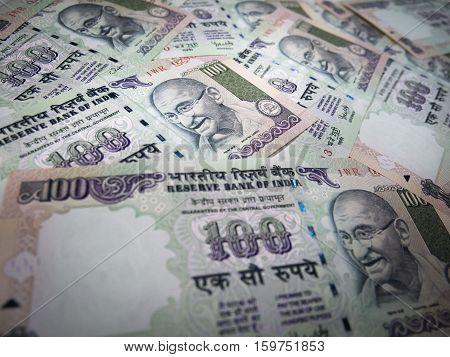 Background And Texture Of Indian Currency 100 Rupee Banknote. Business Currency Concept.