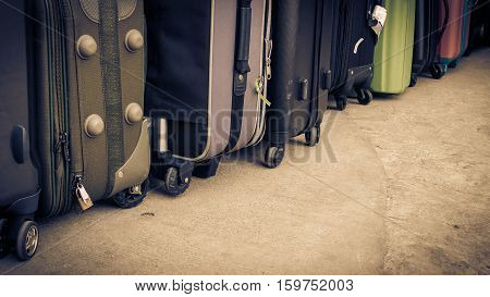 Vintage Style Of Travel Bags Or Luggage On Cement Floor. Luggage Bags Bag Travel Tourism Stacked Tog