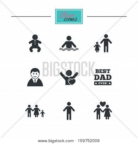 People, family icons. Swimming pool, love and children signs. Best dad, father and mother symbols. Black flat icons. Classic design. Vector