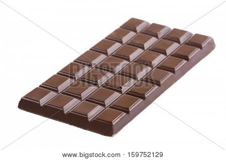 bar of dark chocolate on a white background