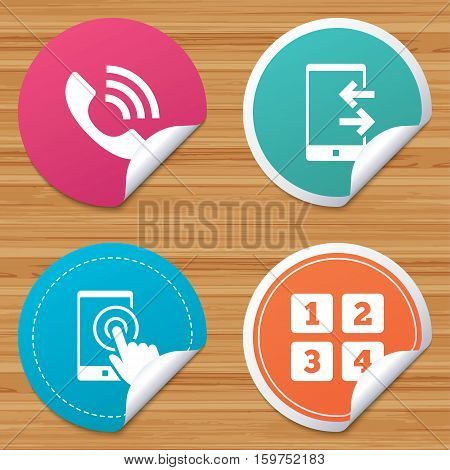 Round stickers or website banners. Phone icons. Touch screen smartphone sign. Call center support symbol. Cellphone keyboard symbol. Incoming and outcoming calls. Circle badges with bended corner
