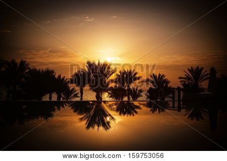 The sun rising over infinity pool, palm trees and Red Sea, Sharm el Sheikh, Egypt
