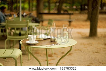 Street Cafe In The Luxembourg Garden, Paris, France