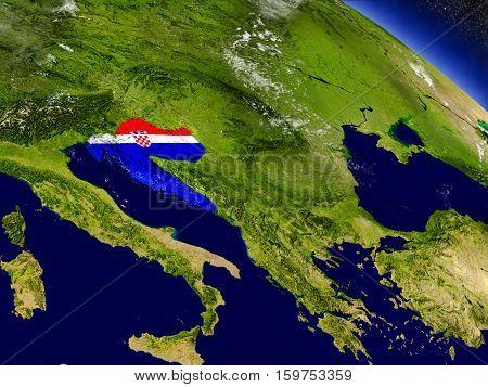Croatia With Embedded Flag On Earth