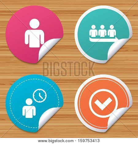 Round stickers or website banners. Queue icon. Person waiting sign. Check or Tick and time clock symbols. Circle badges with bended corner. Vector