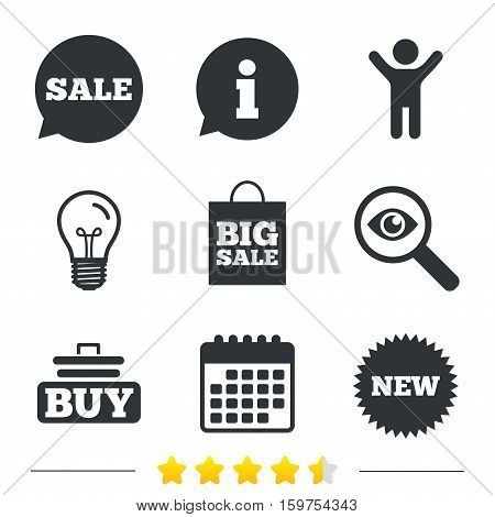 Sale speech bubble icon. Buy cart symbol. New star circle sign. Big sale shopping bag. Information, light bulb and calendar icons. Investigate magnifier. Vector