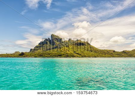Beautiful view of Otemanu mountain on Bora Bora island French Polynesia