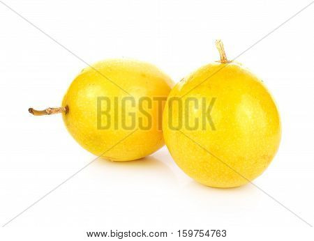 Passion fruit isolated on white background yellow, passionfruit,