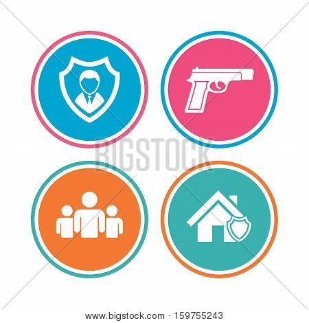 Security agency icons. Home shield protection symbols. Gun weapon sign. Group of people or Share. Colored circle buttons. Vector