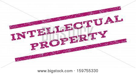Intellectual Property watermark stamp. Text caption between parallel lines with grunge design style. Rubber seal stamp with dust texture. Vector purple color ink imprint on a white background.
