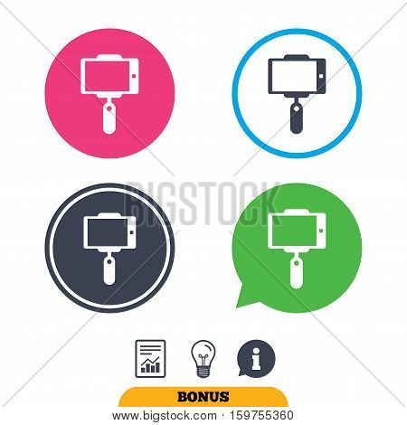 Monopod selfie stick icon. Self portrait tool. Report document, information sign and light bulb icons. Vector