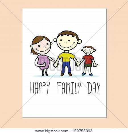 happy family day card with family hand drawn vector