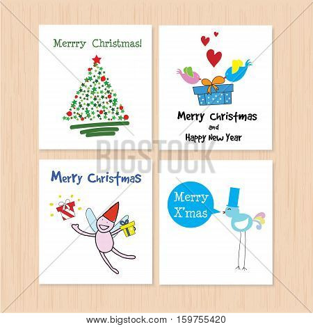 Set of greeting card: Merry Christmas and Happy New Year Creative Hand Drawn card with 4 styles with anglechristmas tree and birds Vector illustration. Isolated on white.