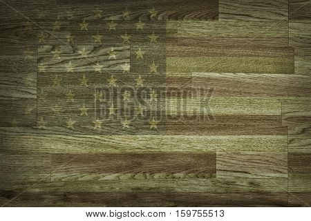 Brown wood texture and background. Faded American flag painted wood texture backdrop. Rustic, old wooden background. Aged wood. Horizontal timber planks.