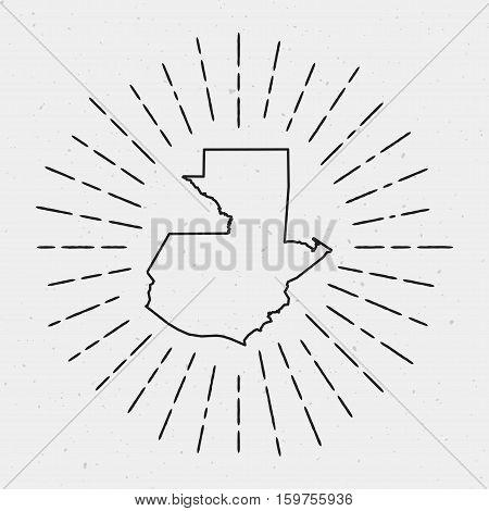 Retro Sunburst Hipster Design. Guatemala Map Surrounded By Vintage Sunburst Rays. Trendy Hand Drawn