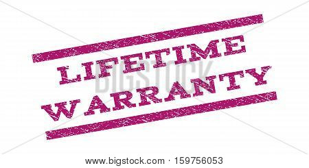 Lifetime Warranty watermark stamp. Text tag between parallel lines with grunge design style. Rubber seal stamp with unclean texture. Vector purple color ink imprint on a white background.