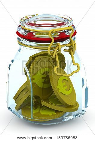 Bank with euro coins. Glass Jar for canning with coins of the European currency on a white surface. Isolated. 3D Illustration