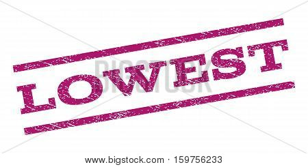 Lowest watermark stamp. Text caption between parallel lines with grunge design style. Rubber seal stamp with scratched texture. Vector purple color ink imprint on a white background.