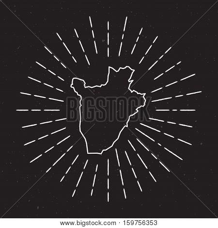 Burundi Vector Map Outline With Vintage Sunburst Border. Hand Drawn Map With Hipster Decoration Elem