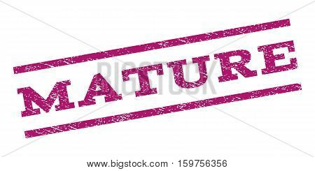Mature watermark stamp. Text tag between parallel lines with grunge design style. Rubber seal stamp with unclean texture. Vector purple color ink imprint on a white background.