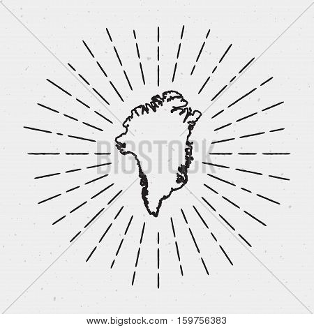 Vector Greenland Map Outline With Retro Sunburst Border. Hand Drawn Hipster Decoration Element. Blac
