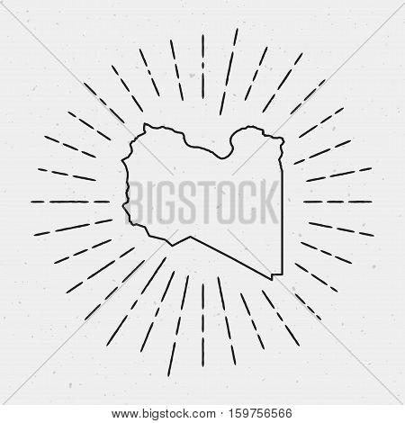 Retro Sunburst Hipster Design. Libya Map Surrounded By Vintage Sunburst Rays. Trendy Hand Drawn Sun