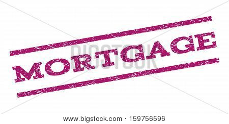 Mortgage watermark stamp. Text tag between parallel lines with grunge design style. Rubber seal stamp with dirty texture. Vector purple color ink imprint on a white background.
