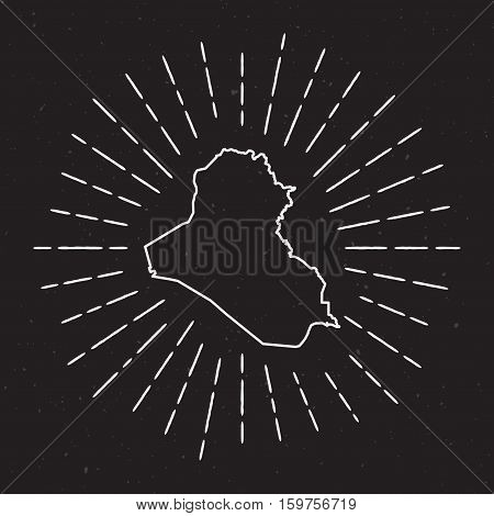 Iraq Vector Map Outline With Vintage Sunburst Border. Hand Drawn Map With Hipster Decoration Element