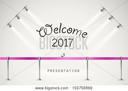Photorealistic bright stage with projectors and ribbon. Presentation vector template. Vector stage
