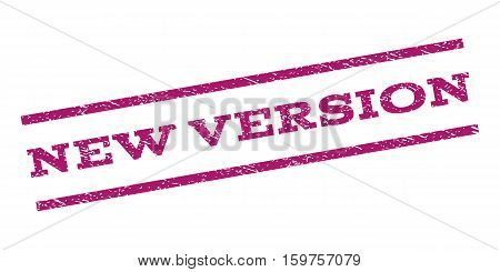 New Version watermark stamp. Text tag between parallel lines with grunge design style. Rubber seal stamp with dust texture. Vector purple color ink imprint on a white background.